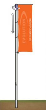 Flag Pole 90 mm, 8.0 Metres with hoistable rotary head boom